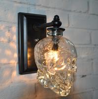 Wholesale Skull Knobs - Loft Personality Industrial Iron + Glass Retro Wall Lamp Light Skull Wall Sconce Lights Hotel KTV Bedroom Living Room Corridor Light