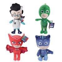 Wholesale Factory Direct Movies - Stuffed PJ Masks Soft Toy 20cm Factory Direct Sale Red Green Blue Cloak Hero Catboy Owlette Gekko America Anime Doll Plush Gift HANCHENTE