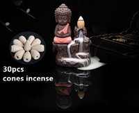 cerámica de té al por mayor-Regalo creativo Decoración para el hogar Little Monk Censer Ceramica Yixing Backflow Stick Incense Burner Buda Purple Clay Pottery Base Tea Pet + 30pcs conos