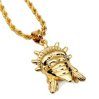 Wholesale Liberty Charm - Fashion Mens Hip Hop Necklace Jewelry Stainless Steel Gold Plated Chain Statue Of Liberty Pendant Men Punk Rock Rap Charms Long Chains 75cm