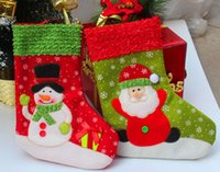 Wholesale Tree Decorations Pouches - Christmas Tree Sock Decorations Santa Claus Gift Party Bag Xmas Sack Pouches 26cm