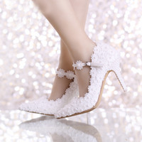 Wholesale Cheap Beautiful Shoes - Spring Beautiful White Lace Bridal Shoes with Ankle Straps Pointed Toe Birthday Party Lace Dress Shoes Cheap Bridesmaid Shoes