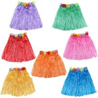 Wholesale Child Grass Skirts - Hawaiian Child Luau Flowered Grass Skirt, 15 inch (40CM) Long Hula Skirt Different Colors Hawaiian party
