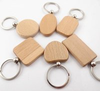 Wholesale Wood Shapes Geometric - Blank Wooden Key Chain Geometric Shapes Key Ring Personalized Keychain Can Be Engraved Logo