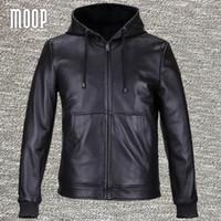 Wholesale jacket cuir men black - Fall-Black genuine leather jackets and coats men 100%lambskin hooded motorcycle jacket coat veste cuir homme 2 patch pockets LT559