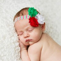 Wholesale Shabby Chevron - Christmas Headband Shabby Frayed Flowers Green, Red Chevron with Rhinestone photo prop MERRY CHRISTMAS christmas headband with 3 flowers