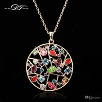 Wholesale Exaggerated Jewellery - Exaggerated Large Imitation Gemstone Necklaces & Pendants Fashion Brand Vintage Rhinestone Jewelry Jewellery For Women DFN049