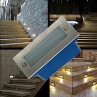 su geçirmez basamaklı ışıklar toptan satış-Su geçirmez 3 W LED yeraltı ışık lambaları gömülü gömülü zemin lambası açık / kapalı Peyzaj merdiven adım duvar aydınlatma AC85-265V
