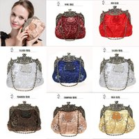 Wholesale Satin Even Bag - 2017 Glamor Glassbeads Embroidered HandBags For Wedding Evening Party Formal Ladies Bags Satin Cloth Beaded Double Handle Bags