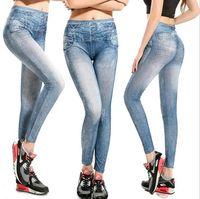Wholesale Sexy Cheap Leggins - 2016 new fashion European style sexy slim high waist cheap sexy slim printed women nine faux jeans leggings jeggings leggins