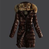 Wholesale woman goose down coat sale - Hot Winter Down Coat Jacket for Women Sashes Long Raccoon Fur Slim Fashion Women's Hooded Clothes Brand Outwear Parkas Colors Sale