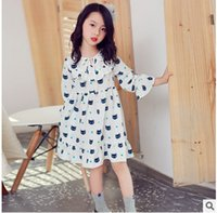 Wholesale Little Girls Party Clothing - Kids party dress 2017 new Autumn girls chiffon little cats printed dress children bows lace-up flare sleeve dress kids fashion clothes C1119