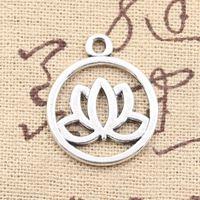 Wholesale Lotus Flower Bracelets - 100pcs Charms lotus flower 20mm Antique Making pendant fit,Vintage Tibetan Silver,DIY bracelet necklace