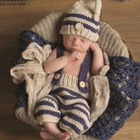 Wholesale Shower Costumes - Newborn Baby Photography Props Infant Knit Crochet Costume Striped Soft Outfits Elf Beanie Hat+Bib Pants Sets Baby Shower Gift