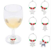 Wholesale Wedding Rings Wine Glass - Christmas Wine Charms for Wine Glasses Drinking Cups Ring for Party Wedding New Year Table Decoration Alloy Wine Glass Charms
