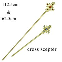 Scepter Crown Cross Rhinestone Double Side Beauty Pageant Bridal King Queen Cosplay Party Props Agrandir Longueur design Mk035
