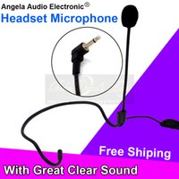 Wholesale Wireless Mike For Computer - Free Shipping 3.5mm Plug Wired Condenser Headworn Headset Microphone Head Mic Mike For FM Wireless Karaoke Bodypack Transmitter