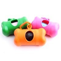 Wholesale Bags Dispenser Dogs - 8.3*4CM Dog Poop Bag Set With 1 Roll Bag 1Bone Case Dispenser Dog Cat Waste Bags Pet Supplies Free Shipping