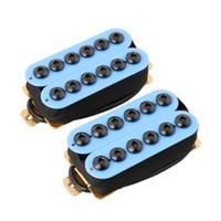 Wholesale Guitar Neck Style - 2PCS Ceramic Magnet Invader Style Guitar Humbucker Pickup Bridge & Neck Blue