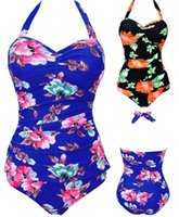Wholesale Swimwear Bandage - Sexy Women One Piece Flower Print Summer Style Halter Hanging Neck Swimsuit Push Up Bathing Suit Bandage Swimwear Plus Size
