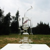 Wholesale Es Top - JM Flow top selling glass water pipe double filtration recycler glass bongs for smoking with 18 inches 18mm male joint(ES-GB-149)