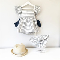 Wholesale Striped Baby Bow Dress - Ins Summer Baby Girls Clothing Sets Big Bow Black White Stripe Dress +PP Shorts 2pcs Fashion Outfit Children Clothing 0-4T E038