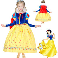 Wholesale Dress Lantern Autumn - Children Girls Snow White Princess Dresses With Cape Kids Party Ball Gown Long Cosplay Dancewear Christmas Halloween Clothing HH-D03