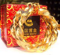pendiente grande grande de oro al por mayor-Oro amarillo de 18 quilates Pendientes grandes de aro curvo Hip-Hop Heavy Regalo grande Oro 100% real, no es sólido, no es dinero.