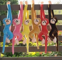 Wholesale Cute Stuffed Animals Monkeys - Wholesale-60cm Cute Monkey Plush Toys Long Arm Monkey From Arm To Tail Kids Toys Gift Curtains Monkey Animal Dolls Stuffed Toys Quadcopter