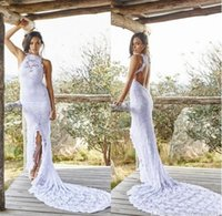 Wholesale Halter Collar Wedding Dresses - 2017 Boho Lace Bohemian Wedding Dresses Front Split Beach Court Train Halter Sheer Backless Mermaid Bridal Gowns