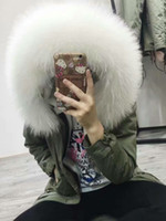 Wholesale Ykk Military Zippers - White fur army coats MMF fur long parka MR & MRS FURS Military Canvas coats with ykk zipper MR & MRS Itlay rabbit fur lined long parka