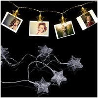 Vente en gros- LED Clip photo String Light - 20 clips photos 10ft Elegant Star LED Lights Picture avec 2 modes (blanc chaud) (alimenté par batterie)