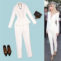 Wholesale Elegant Wear For Ladies - New Pants Suits Women 2 pieces Business Formal Office Uniform Style Elegant Womens Suits Blazer With Pants Work Wear for Ladies