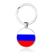 Wholesale Car Country Flag - Russia Nation Flag Keychains Glass Cabochon Car Key Bag Accessories Eastern Europe Countries Flags Keyings Wholesale New Arrival