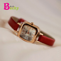 Wholesale Korean Small Table - Korean retro square dial color patent leather watch chain small dial small watch classic wild female table tide