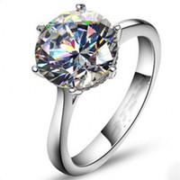 4ct verlobungsringe großhandel-Vecalon 2016 Marke Weibliche Solitaire ring 4ct Simulierte diamant Cz 925 Sterling Silber Engagement hochzeit Band ring für frauen