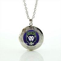precios de locket al por mayor-Nueva moda precio barato de cadena larga locket collar de Leones equipo de rugby joyería de fútbol deporte hombres joyería regalo NF074
