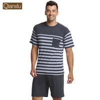 Wholesale Couples Onesies - Wholesale-Qianxiu Brand Pajama Summer Modal Men pajama Set Women Sleepshirts Couples stripesSleepwear home wear Free Shipping
