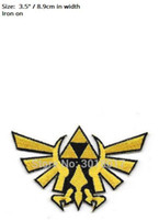 "Wholesale Wholesale Iron Princess Patches - 3.5"" Zelda Princess Triforce Gold Patch tv movie game series Embroidered Iron On Badge cosplay Halloween Costume party favor"