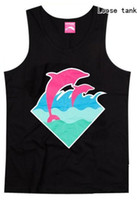Wholesale Pink Dolphin Vest - Wholesale- New Pink dolphin tank top gilet men hip hop vest loose underwaist free shipping hip-hop sleeveless shirts singlet loose