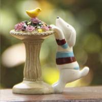Wholesale Miniature Vases - 1pcs Flower Vase Dog Figurines Fairy Garden Miniatures Zakka Decor Resin Crafts Terrarium Figurines Statue Tonsai Home Accessories Toys DIY