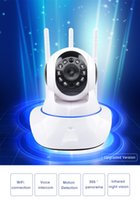 Wholesale Wholesale Audio Baby Monitors - Mini CCTV WiFi Camera IP 720P Home Security Camera Wi-Fi P2P Two Way Audio Night Vision 3 Antennas Wireless Baby Monitor