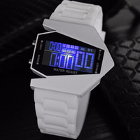 Cool Airplane Design Men Relógios com alarme Backlight New Arrival Modelo 7 cores LED Relógios digitais Silicone Jelly Fashion Wristwatch