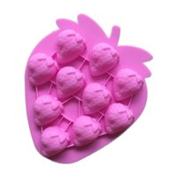 Wholesale strawberry chocolates for sale - Group buy Strawberry Shape Silicone Mold Pink Chocolate Molds Holes Jelly Decoration Kitchen DIY Baking Tool Fondant Cake Mould GJM75