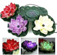 ingrosso fontane galleggianti solari-Pratica Garden Pool Floating Lotus Solar Light Night Flower Lamp per la decorazione della fontana dello stagno Lampade solari