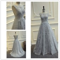 Wholesale Elegant Grey Dresses - 2017 New Elegant Silver Grey Lace A Line Floor Length Prom Dresses Crew Neck Tulle Applique Beaded Backless Formal Party Evening Dresses