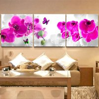 Wholesale Orchid Flower Oil Painting - 3 Piece Free Shipping Hot Sell Modern Wall Painting Pink Purple Orchid Flower Home Decoration Art Picture Paint on Canvas Prints