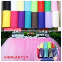 Wholesale Spools Tulle Wholesale - Wholesale DIY Tulle Roll Spool 6 Inch 25 Yard Tutu Wedding Table Decoration Bridal Decorating Girls Tutu Dress Fabrics 20 Colors Available