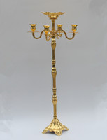 Wholesale Candle Stick Decorations - New arrival gold finish floor candelabra 85cm metal candle holder, gold color candleholder with flower bowl,candlestick