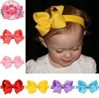 Wholesale Big Boutique Bows - 10.5cm 20color Bows Hair band Cute Baby Ribbon big Bows Boutique headbands Bandanas girls princess hair Accessories Kids Accessories A8918